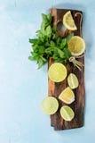 Limefrukt och citroner med mintkaramellen arkivbilder