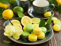 Limefrukt- och citronmakron. royaltyfri bild