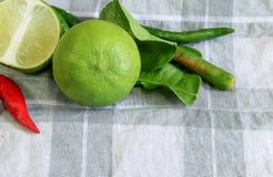 Limefruktchili- och citronbladet Arkivbilder