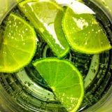 Limefrukter i ett exponeringsglas Fotografering för Bildbyråer