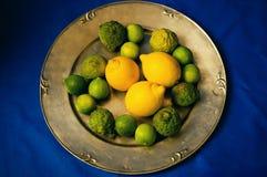 Limefrukter, kaffirlimefrukter och citroner Arkivbild