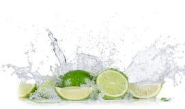 Limefrukter med bevattnar färgstänk royaltyfri bild
