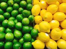 Limefrukter och citroner i supermarket Fotografering för Bildbyråer