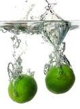 limefrukter som plaskar vatten Royaltyfri Bild