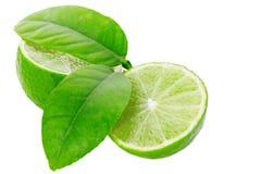 Limefrukter som skivas som isoleras på den vita snabba banan Fotografering för Bildbyråer