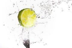 limefruktfärgstänk royaltyfri foto
