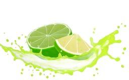 Limefruktfärgstänk royaltyfria bilder