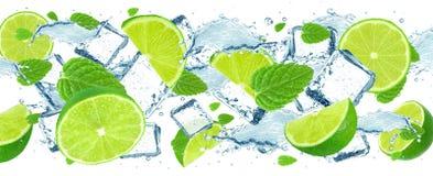 Limefruktfärgstänk- och iskuber Fotografering för Bildbyråer