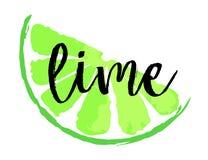Limefruktfruktetikett och klistermärke Arkivfoton