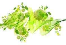 Limefruktfruktsaftfärgstänk med den abstrakt waven Fotografering för Bildbyråer
