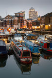 Limehouse Basin and Canary Wharf, London. Stock Images