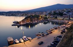 Limenaria Thassos. Port in Limenaria, island Thassos Greece,  in early evening Stock Image