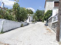 Street in Limenaria, Thasos. Limenaria is a village on the island of Thasos in northern Greece. The village numbers 2480 residents 2011 census and is the second Royalty Free Stock Image