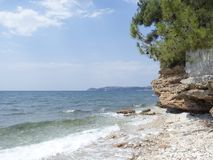 Beach in Limenaria, Thasos. Limenaria is a village on the island of Thasos in northern Greece. The village numbers 2480 residents 2011 census and is the second Stock Photos