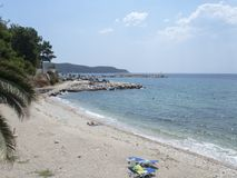 Beach in Limenaria, Thasos. Limenaria is a village on the island of Thasos in northern Greece. The village numbers 2480 residents 2011 census and is the second Royalty Free Stock Images