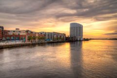 Limerick city sunset. With reflection in Shannon river, Ireland Stock Image