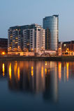 Limerick at night. Stunning nightscene with Riverpoint buildings over Shannon river in Limerick, Ireland (picture taken after sunset Stock Photo