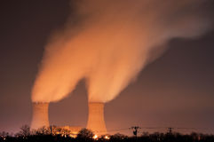 Limerick Nuclear Power Plant. The cooling towers at night of the nuclear power generation plant in Limerick, Pennsylvania Royalty Free Stock Photo