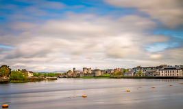 Limerick town panorama. View of the Shannon river and the King Johns Castle, Limerick, Ireland Stock Photo