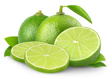 Isolated limes royalty free stock photography