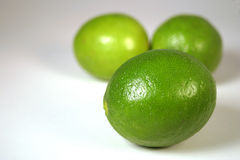 Limes. Isolated on a white background Royalty Free Stock Images