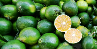 Limes. The background of limes with one cut in half Royalty Free Stock Photos