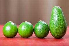 Limes and avocado Royalty Free Stock Photos