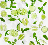 Limes, fresh mint and ice for mojito on white background. Stock Photo