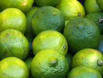 Limes at a fruit market. Green limes close up from a fruit Stock Photo