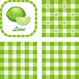 Limes & Gingham Seamless Patterns Stock Images