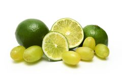 Limes and grapes stock photo