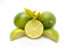 Limes with half Royalty Free Stock Image