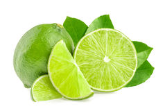 Limes isolated. On white background Stock Images