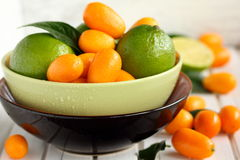 Limes and kumquat. Royalty Free Stock Photography