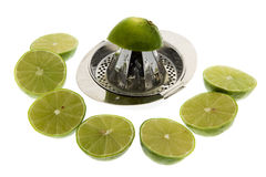 Limes with lemon squeezer royalty free stock photos