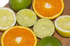 Limes, lemons and oranges Stock Photo