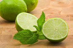 Limes with mint Royalty Free Stock Photography
