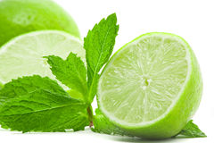 Limes with mint Stock Photos