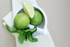 Limes and mint Royalty Free Stock Photo