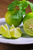 Limes and mint Stock Photography
