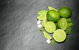 Limes and mint Top view.  royalty free stock image
