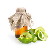 Limes peel with essential oil. Isolated Stock Photos