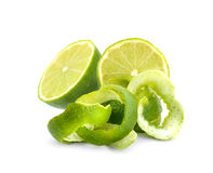 Limes peel  isolated on white background. Limes peel  isolated on white background Stock Photo