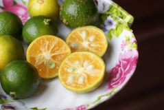 Limes in a plate Royalty Free Stock Image