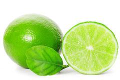 Limes sliced isolated on white background Royalty Free Stock Image