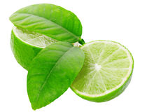 Limes sliced isolated on white clipping path Stock Image