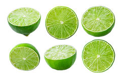 Limes slices on white background Stock Images