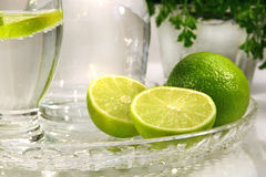 Limes and sparkling water Royalty Free Stock Photography