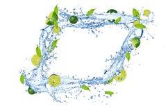 Limes in splash Stock Photo