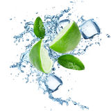 Limes and Splashing water Stock Photography